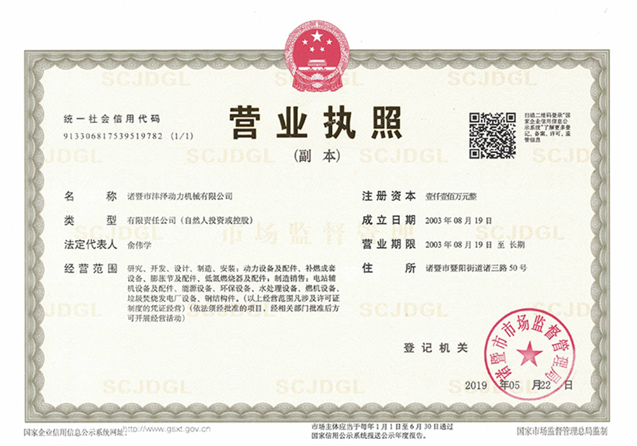 A copy of the business license)